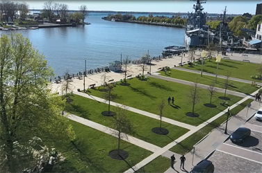 Canalside drone shot
