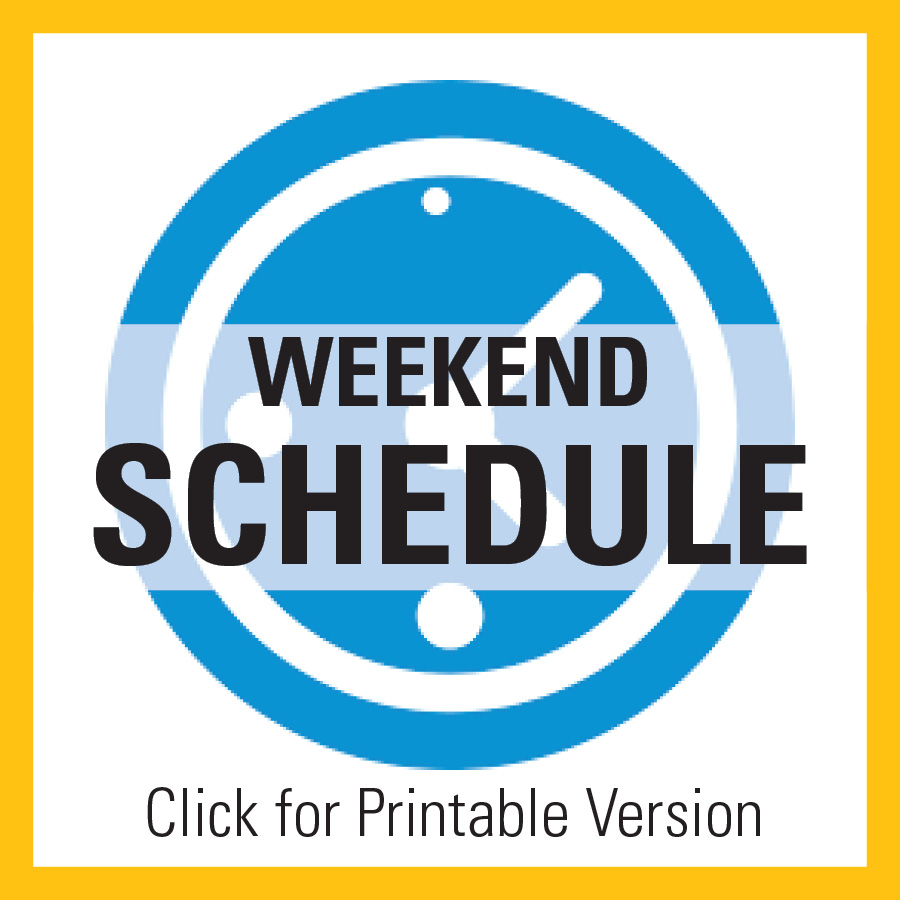 Hilbert College Shuttle Weekend Schedule Image with text Click Below to Download