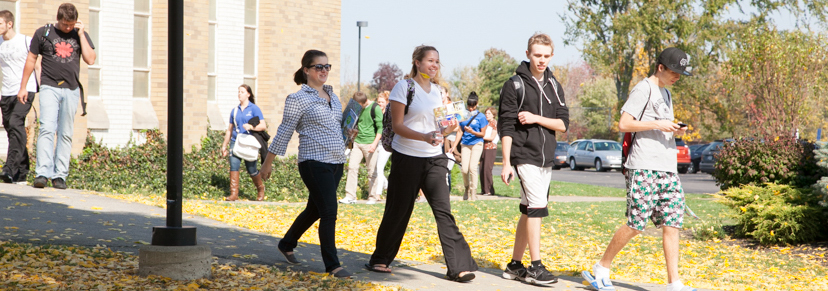 Hilbert students leaving Bogel Hall