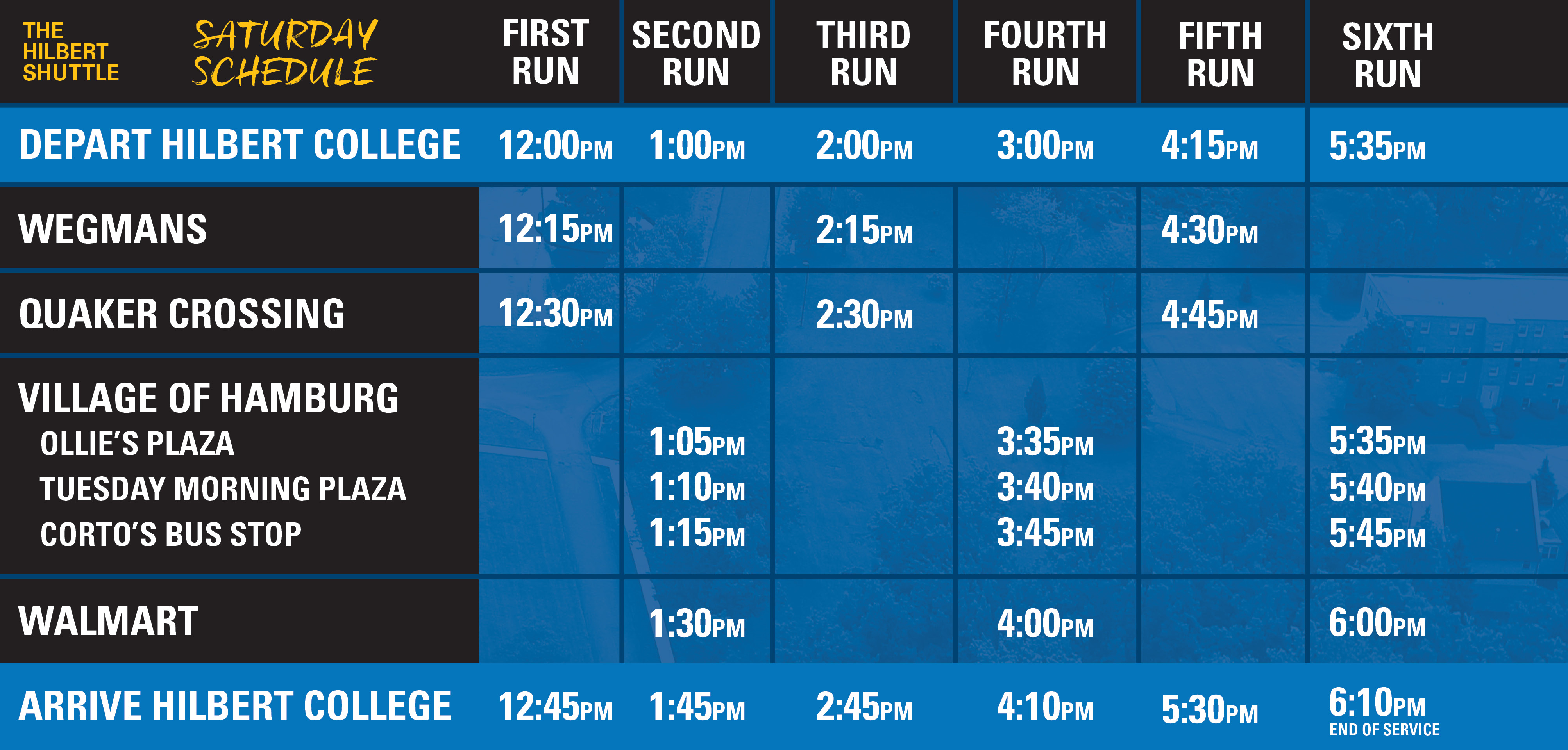 Picture View of Saturday Shuttle Schedule - Accessible version of Schedule can be downloaded below