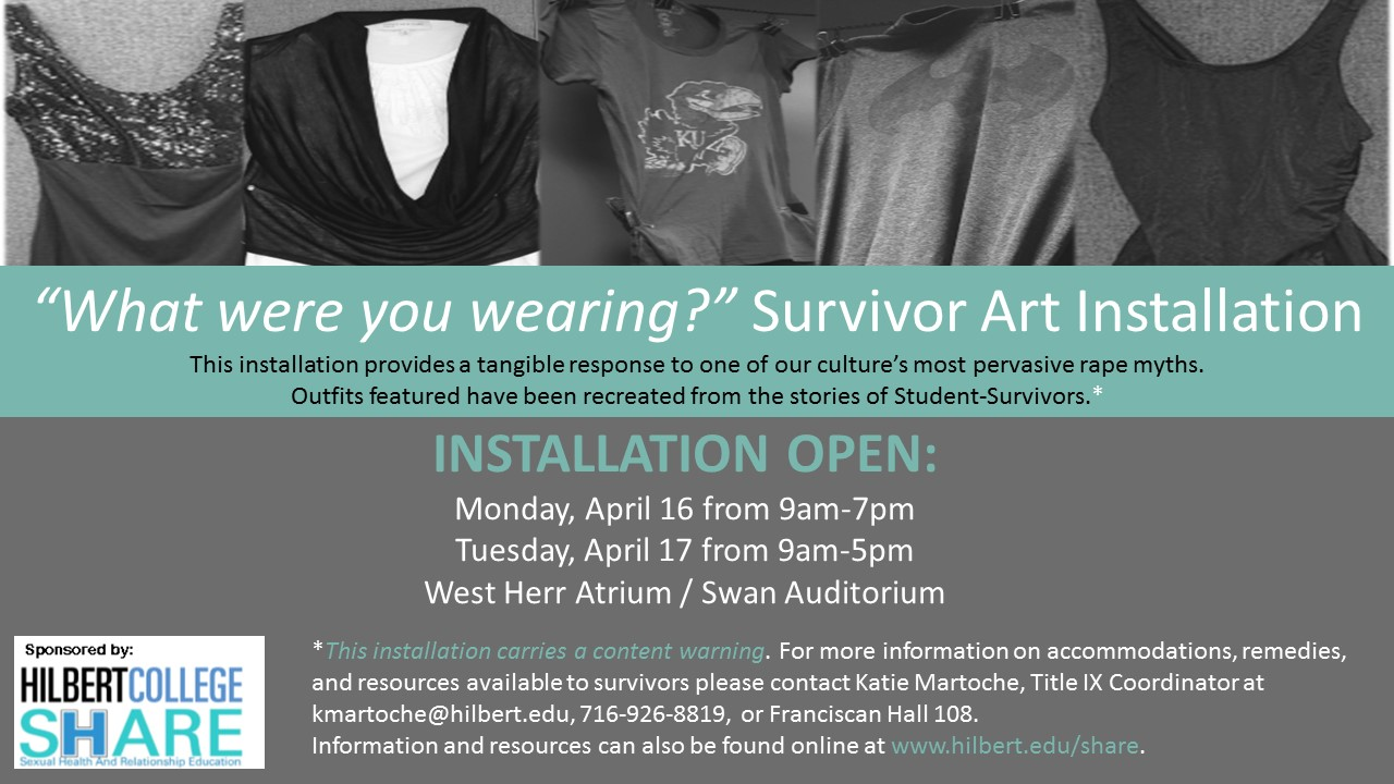 """What were you wearing?"" Survivor Art Installation flyer image"
